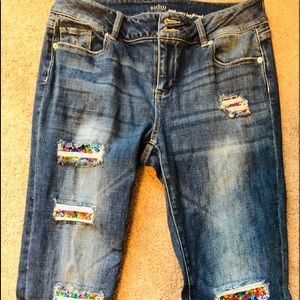 NY&Co High Waist Boyfriend Jeans Ripped w/ Sequins